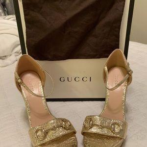 Gucci horse bit gold espadrilles  wedge